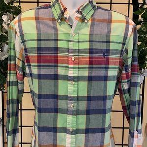 💙 RALPH LAUREN Green Plaid Slim L/S Polo / Lg.